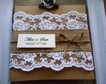 Rustic Wedding Lace and Burlap Invitations - Custom Rustic Wedding Invitations - Personalized Invites - Country Barn Wedding - Shabby Chic