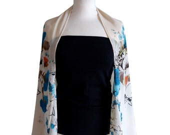 Cache shoulder chiffon off-white Adhikan black and turquoise