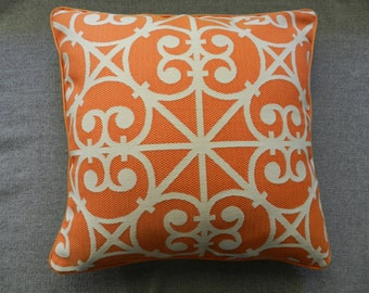 Orange-cream decorator fabric pillow cover