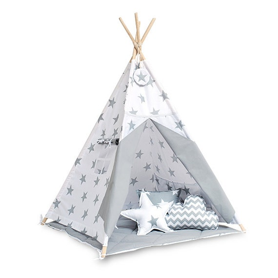 tipi enfants jouer tente tipi gris lumineux par funwithmum. Black Bedroom Furniture Sets. Home Design Ideas