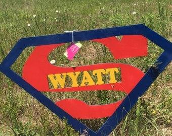 Personalized superman  birthday gift  door hanger