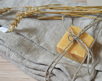 Bath thick 2 Linen towels - Medium-sized bath towels -  Natural undyed linen towels - Simple rustic bath towel - Washed rough linen towel