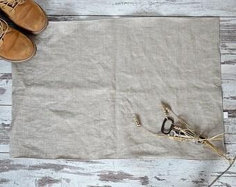 Rustic washed Linen rug - Double-layered feet mat - Rough thick linen bath mat - Natural undyed Bath linen rug - Natural rug