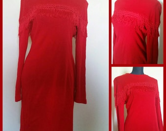 Hearts Brand 70's 80's Red Tassel Fringe Dress Size 11/12 Made in USA