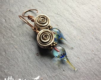 Burnished rose and lampwork drop earrings