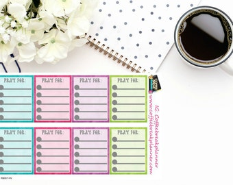 Planner Stickers|Prayer List Full Boxes| Prayer Tracker| For use in a variety of planners and journals| RB007