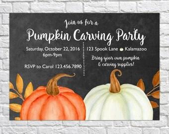 Printable Pumpkin Carving Invitation, Halloween Party Invitation, Harvest Party Invitation, Pumpkin Carving Invite, Fall Festival Invite