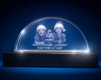 3D Laser Gifts Crystal Custom Engrave Paperweight Christmas Arc Shaped