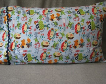 Pirate animals monkeys, foxes, hedgehogs cotton flannel standard size handmade pillowcase