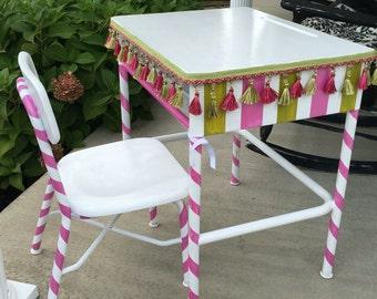 Girls desk pink white whimsical