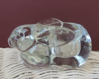 Solid Glass Rabbit Ring/Jewelry Holder Vintage