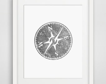 Compass Print, Silver, Foil, Hipster, Wall Art Prints, Printable Art, Downloadable, Gray, Grey, Compasses, Hiking, Camping, Woodland, Poster