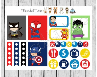 Weekly sticker set - Superheroes - planner stickers