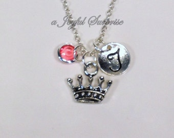 Personalized Tiara Necklace, Princess Tiara Necklace, Crown necklace, Queen Royalty Reign Jewelry Gift with initial & birthstone choice i6