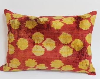 İkat Velvet Pillow Cover, 14'' x 20'' , Decorative Pillow, Handmade Silk Pillow, İkat Lumbar Pillow,  Shipping with Fedex 1-3 days