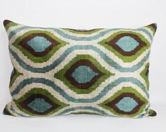 İkat Velvet Pillow Cover, 14.5'' x 22'' , Decorative Pillow, Handmade Silk Pillow, İkat Lumbar Pillow,  Shipping with Fedex 1-3 days