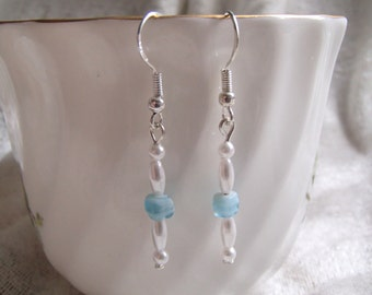 Glass Pearl & Swirled Blue Glass Handmade Earrings; Dangle Earrings