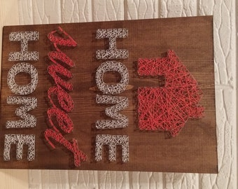 Home Sweet Home String Art, Home, String Art, House, House Warming, Gift, Home Decor, Wall Art, House, String Art, Made to Order, First Home