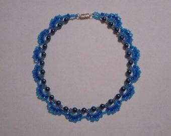 Dark teal blue lacy pearl choker