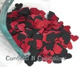Paillettes confettis/Glitter rouge et noir coeur confettis/anniversaire fête décorations/gâteau Table Decor/réception de mariage Scatter/Sweet 16 /