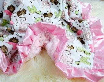 "Baby Girl Blanket 29""x33""  Minky Baby Blanket, Can be Personalized, Pink Baby Blanket,  Crib Blanket Stroller Blanket, Baby Girl Shower Gift"