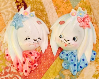Lefton ESD Mr. And Miss Toodles White Maltese Puppy Wall Pockets from Japan circa 1950's
