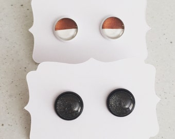 12mm Black on Black Stud Earrings