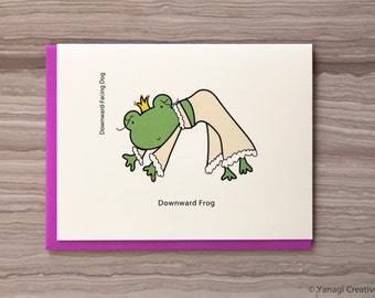 Cute and Funny Downward Frog greeting card