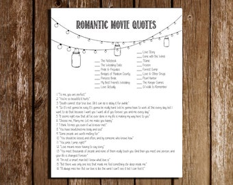 "Printable Bridal Shower, Wedding, Engagement, Bachelorette Party Game/ ""Romantic Movie Quotes"""