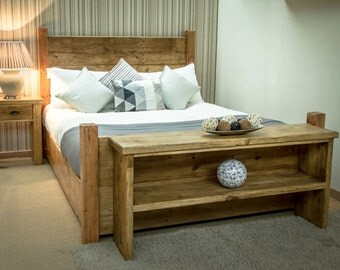 REDUCED Bespoke Rustic 5ft King Size Plank Bed Frame In Antique Pine (available in other sizes)