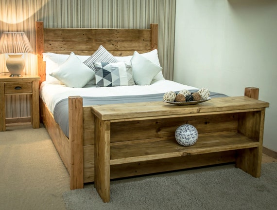 reduced bespoke rustic 5ft king size plank bed frame in antique pine available in other - Pine Bed Frame