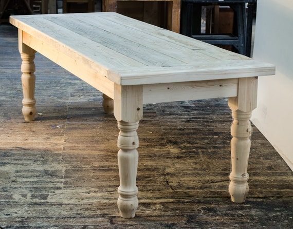 solid farmhouse table with 5 inch chunky legs by. Black Bedroom Furniture Sets. Home Design Ideas
