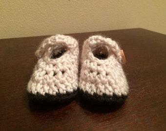 0-3 Month Crochet Mary Jane Baby Booties