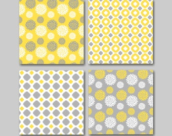 Yellow And Gray Wall Decor yellow gray decor | etsy