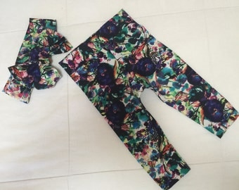 Floral water color leggings, baby or toddler