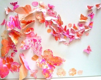 Array collage pink and Golden butterflies