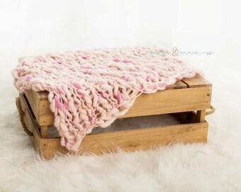 Soft Pink Mini Blanket - Basket Filler - 100% Merino Wool