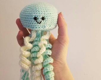 Amigurumi Crocheted Jelly Fish Plush Toy and Nursery Decor