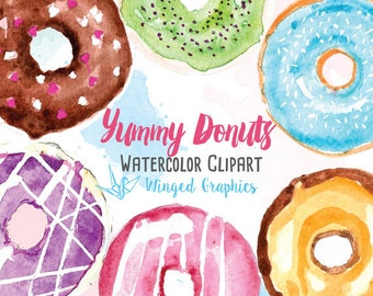 Handpainted watercolor clipart: donuts ( digitally edited , on transparent background). sweets, bakery, baker blog