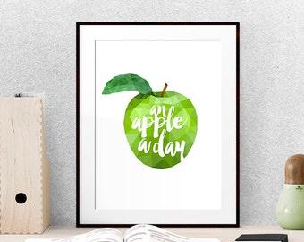 Kitchen print, Kitchen wall decor, Kitchen quote, Fruit print, Geometric wall art, Green wall art, Geometric print, Foodie gifts,
