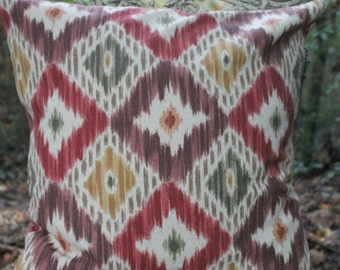 Ikat Pillow Cover with Jute Trim