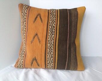 "Pillow,Kilim Pillow,Vintage Kilim Pillow,20""x20"",Vegetable Dyes,Free Shipping within USA,Decorative,Bohemian Decor Pillow,Bohochic Pillow"