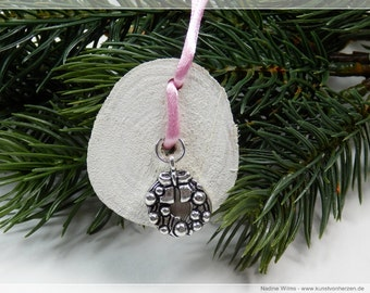 Christmas Wreath - tree ornaments Christmas decorations Christmas - Dekoanhänger of wood with metal pendants