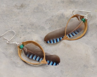 Jay feather and paulownia capsule earrings