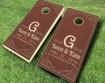 Framed Name & Date Stained Cornhole ROSEWOOD Set with Bags - Wedding Cornhole Set - Wedding Gift - Cornhole Wedding
