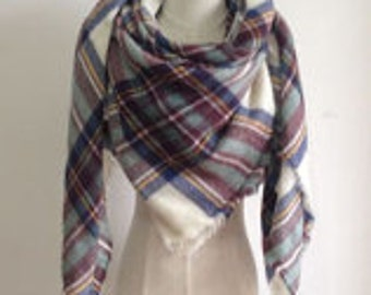 Blue & Brown Soft Blanket Scarf