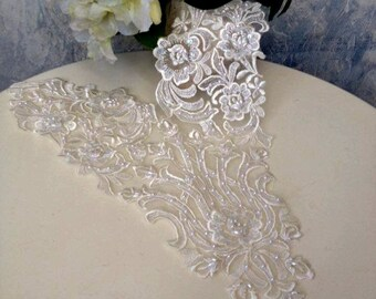 Vintage Fine Lace Applique with embroidered pearls
