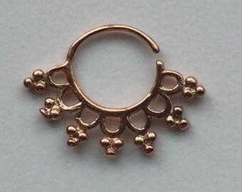 Seven Star Rosegold 16G Septum Ring
