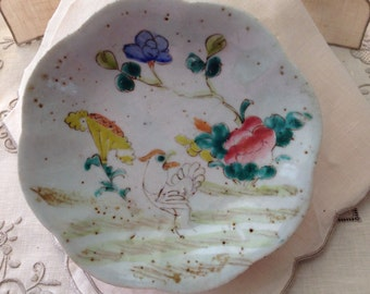 Antique Chi'ng Dynasty Stone Ware Footed Condiment/Sweet Meat Dish Hand Painted Enamel Decoration of a Chicken and Florals No Mark