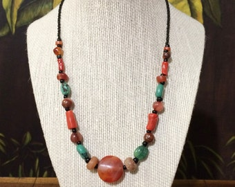 Red Coral, Turquoise and Carnelian Necklace.